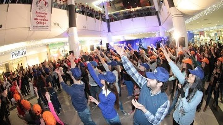 "Flash mob, Mesrobian College's 75th anniversary, ""Sasna bar"" (Armenian dance), City Mall"