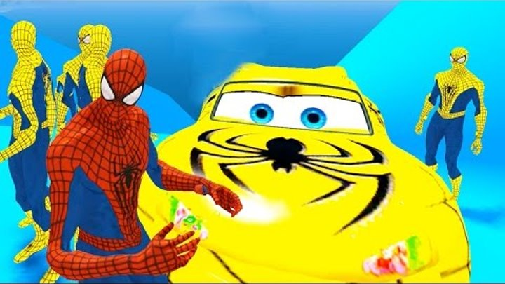 Spiderman CAR - Yellow & Red Spiderman - Nursery Rhymes Simple Songs - FOR KIDS