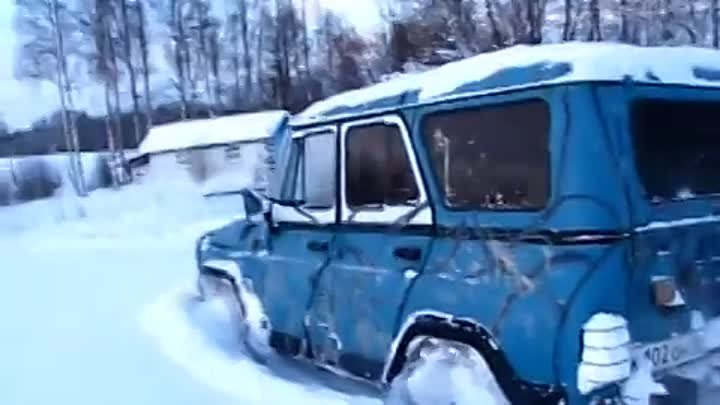 UAZ in deep snow.