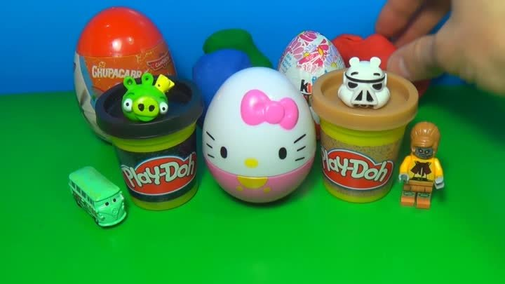 Surprise eggs Hello Kitty Disney Planes Kinder surprise Play Doh ANGRY BIRDS Cars The SMURFS LEGO