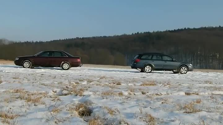 Audi A6 quattro vs. Subaru Outback on ice
