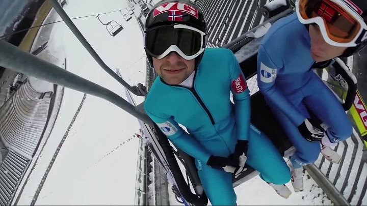 GoPro Ski Flying With Anders Jacobsen Прыжок на лыжах с трамплина