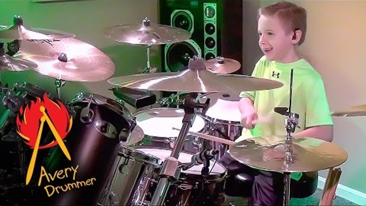 """""""Money For Nothing"""" Acoustic Kit, Avery Molek, 7 year old Drummer"""