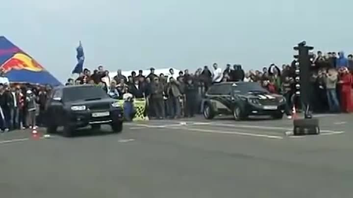 Subaru Forester 2.5T AT vs VAZ 2108 (Turbo STI engine) Drag race