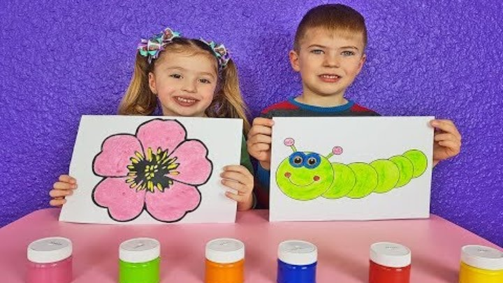 Education activities video for kids, children and toddlers with fruits Color Paints