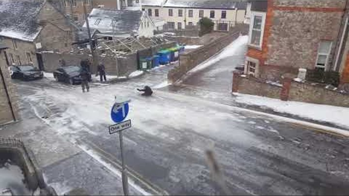 Icy road in Swanage, England