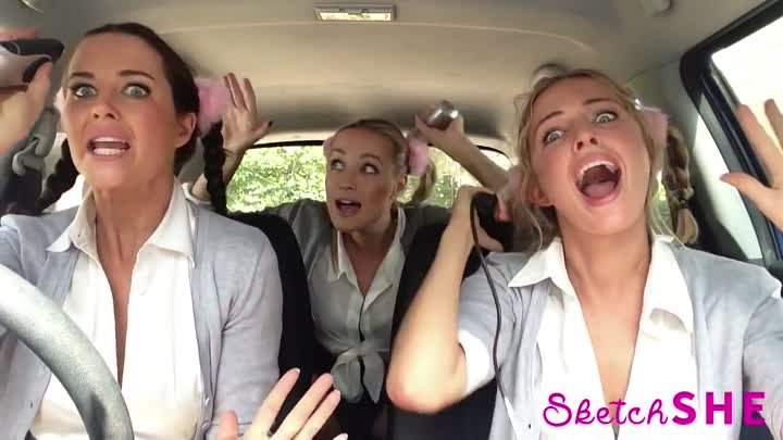 3 девушки поют в машине 2015 / 3 model girls singing in a car 2015 / Mime Through Time by SketchSHE