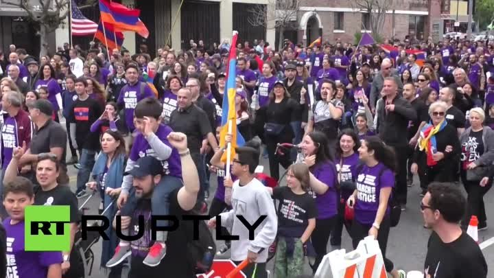 RAW: LA rally marks 100th anniversary of mass killings of Armenians by Ottoman Turks