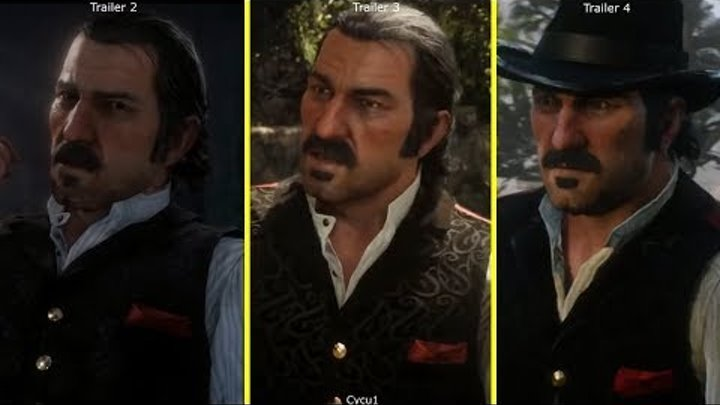 Red Dead Redemption 2 Trailer 1 vs 2 vs 3 vs 4 Early Graphics Comparison