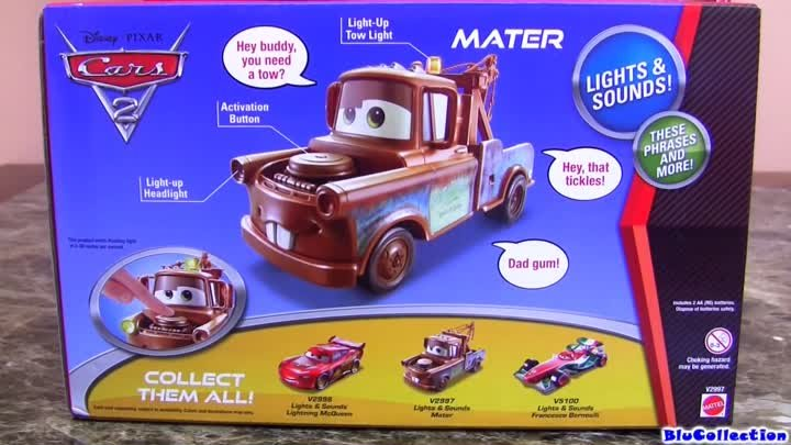 Huge Tow Mater Lights and Sounds 1:24 scale Talking Toy from Disney Pixar review by Blucollection