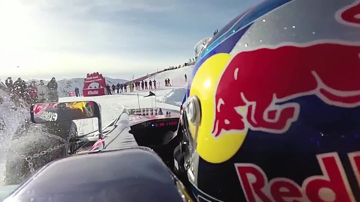 Onboard Max Verstappen drives Red Bull F1 car on a ski slope