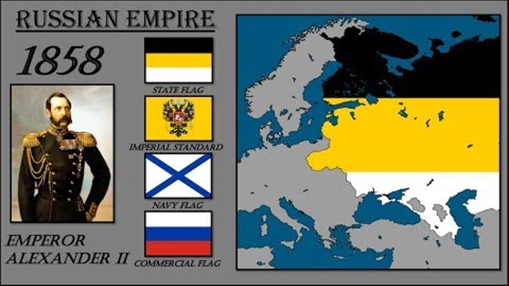 Russian Flag History. Timeline of Russian Flags with European Map. История Флага России.
