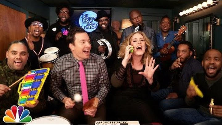 """Jimmy, Adele & The Roots Sing """"Hello"""" (w/Classroom Instruments)"""