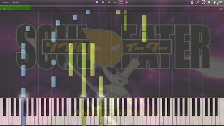 """Soul Eater - Opening 2 """"Black Paper Moon"""" - Synthesia Piano HD + Midi"""