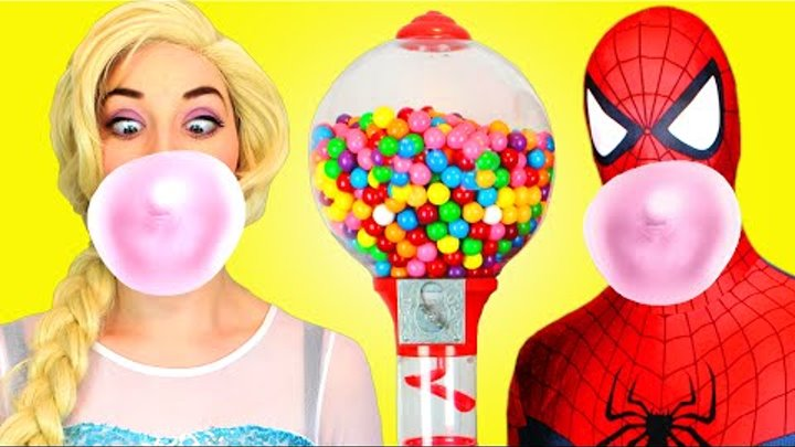 Spiderman & Frozen Elsa vs Joker! w/ Pink Spidergirl Anna & Batman! Superhero Fun in Real Life :)