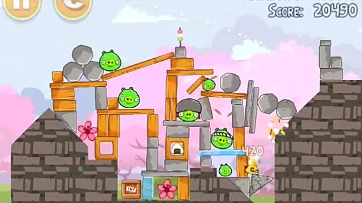 Angry Birds Seasons Level 1-9 - Mighty Eagle - 100% - Total Destruction - Cherry Blossom