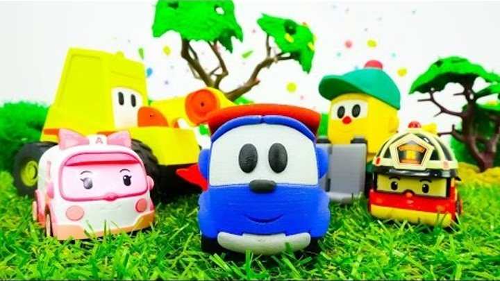 Cars and Trucks. Toys for Kids. Leo the truck and traffic jam. Tayo, robocar Roy, Amber and Poli.