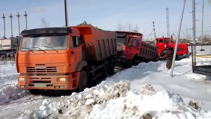 Оторвало кабину.Torn off at the truck cab