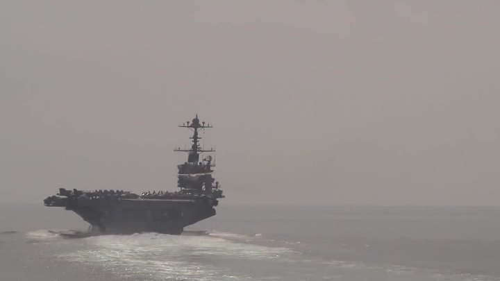 American aircraft carrier class warships . Air Force Super Sonic Jet Fly By