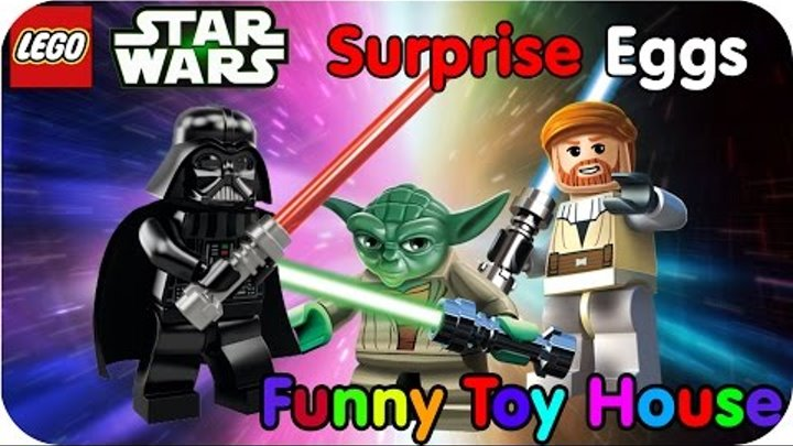 LEGO Star Wars SURPRISE EGGS 3D - Conveyor with toy cartoon characters. 7 Kinder Surprise 3D!