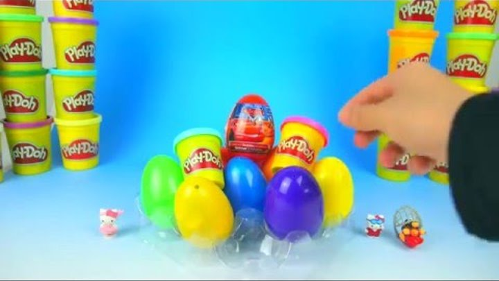 Surprise Eggs Play Doh Barbie Spongebob Hello Kitty Kinder Surprise Eggs Toys Mcqueen Cars