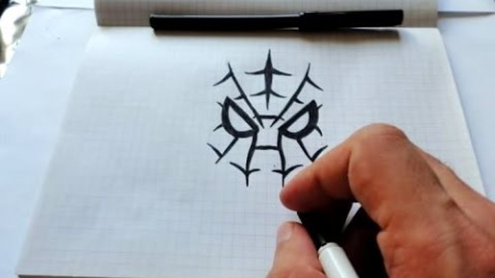 How to draw New Spiderman Face Homemade drawing art(Ehedov Elnur)Рисуем Человека Паука поэтапно