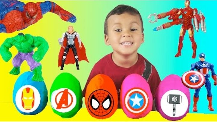 Marvel Avengers Surprise Eggs Play-Doh Opening Fun With Spideman Kids American Kinder Surprise Toys