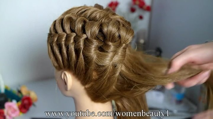 Elegant hairstyle for long medium hair.