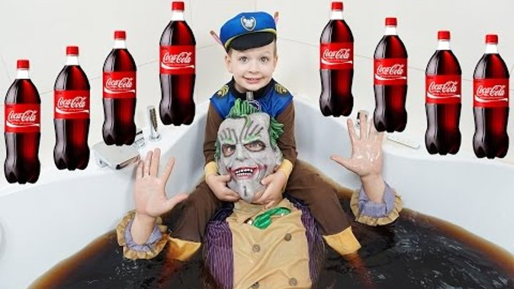 Bad BABY Щенячий ПАТРУЛЬ Утопили ДЖОКЕРА в Кока Кола! Нерф Война! Nerf WAR Joker Coca Cola BATH