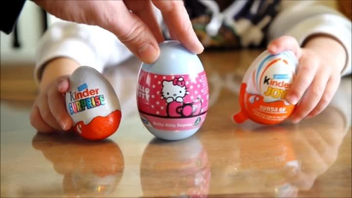 Hello Kitty Egg And Kinder Surprise Egg And Kinder Joy Egg Opening Eggs Video