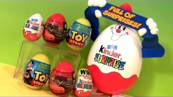 Huge Kinder Surprise Eggs Disney Pixar CARS 2 & Toy Story review Unwrapping Chocolate Toys