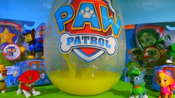 Распаковка Щенячий патруль Гигантское яйцо с сюрпризами и лизуном Paw Patrol Giant egg Unboxing