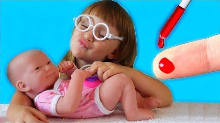 Bad Baby PLAYING DOCTOR PRETEND PLAY with Crying Baby Born and Nursery Rhymes
