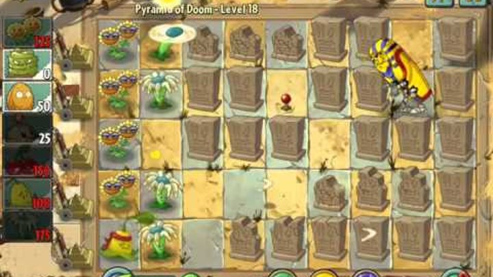 Plants vs Zombies 2 it's about time Pyramid of Doom Level 18 ios iphone gameplay