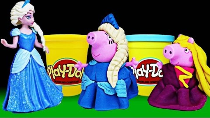 Play Doh Peppa Pig Costume Halloween and Disney Frozen Elsa for Mommy Pig