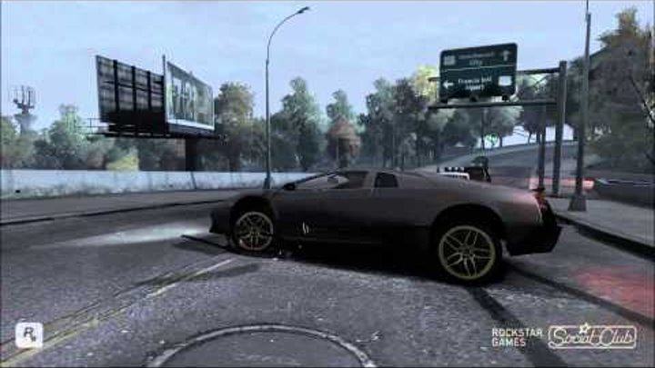 GTA IV Lamborghini Murcielago LP670-4 SV VS Maserati MC Stradale (Crash Test) 1080p