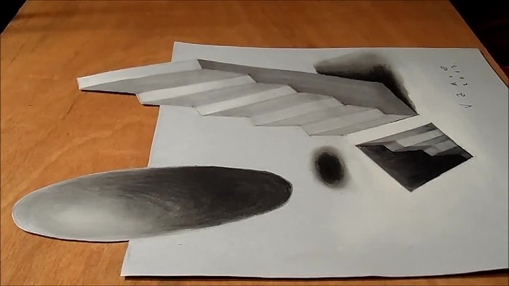 Anamorphic Illusion, Drawing 3D Staircase, Time Lapse