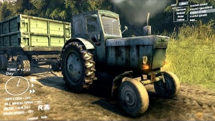 Spin Tires Dev Demo July 2013 - T 40 Tractor + Trailer Test Drive