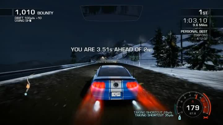 """Need For Speed Hot Pursuit [HD] """"Racing Stripes"""" 4:11.79 -Ford Shelby GT500 Super Snake-"""