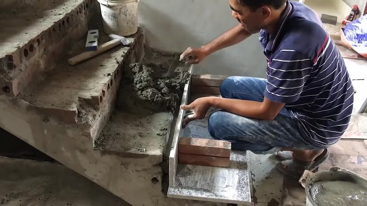 Amazing Techniques Smart Contruction Skills - Building And Installation A Granite Stairs.mp4