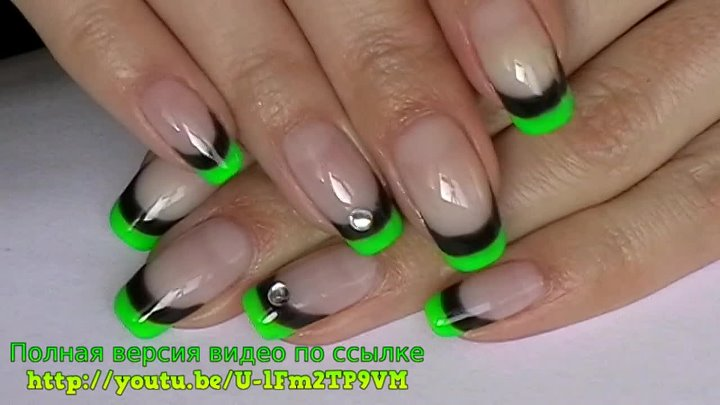FRENCH manicure SHELLAC nails tutorial / Двойной френч за 40 секунд