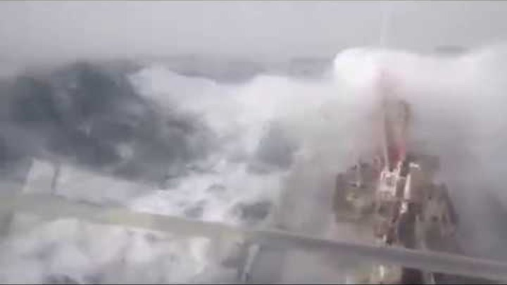 Terrifying moment ship is slammed by monster waves in violent mega storm at sea