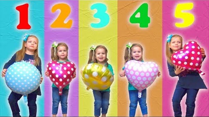 Five little Babies Jumping on the bed w\Cartoon Balloons , Baby nursery rhymes songs for children