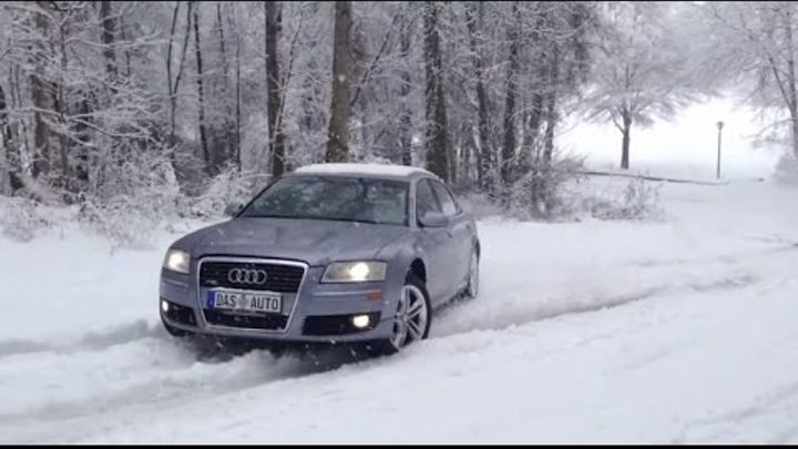 Audi A8 Quattro 4.2 V8 vs. BMW X5 Snow Ice Uphill Test