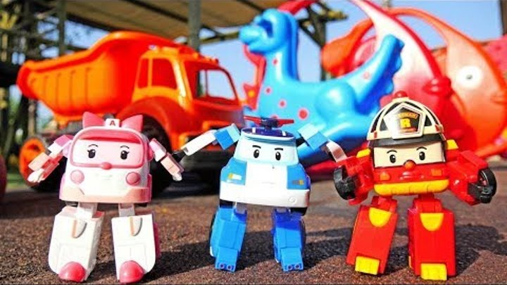 Robocar Poli toys on a playground. Toy cars for kids.