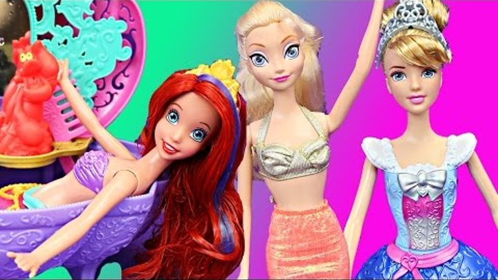 Frozen Elsa Mermaid Disney Princess Magic Water COLOR CHANGE Dolls Cinderella, Little Mermaid Ariel
