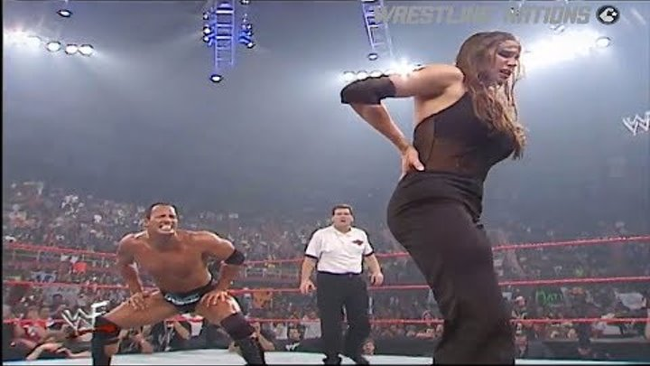 The Rock vs Stephanie McMahon & Test WWE RAW 720p