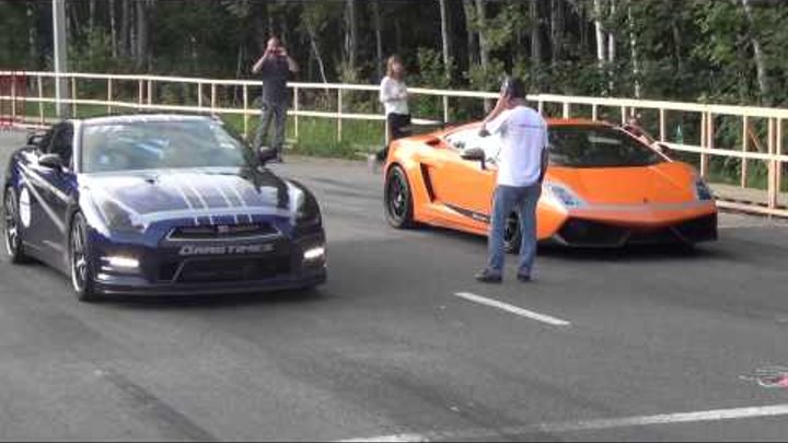 Nissan GT-R AMS Alpha 12 Vs Lamborghini Gallardo Superleggera - Top Speed