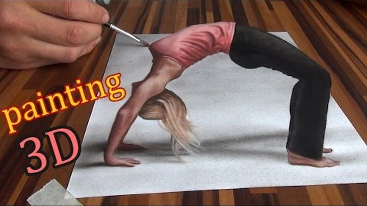 Drawing of an anamorphic illusion/ 3D painting