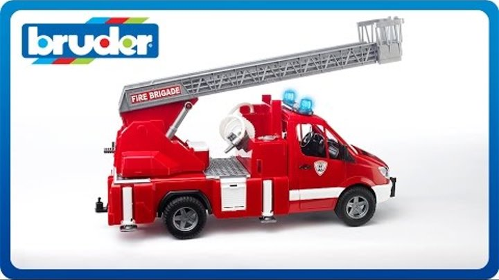 Bruder Toys MB Sprinter Fire Engine w Ladder, Water Pump & Light & Sound Module #02532